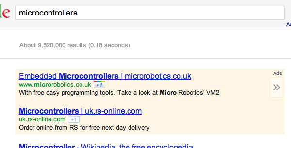 Google AdWords ad - notice the grey panel with an arrow