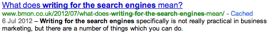 Writing for the search engines - an illustration
