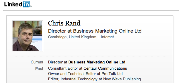 LinkedIn profile for Chris Rand of BMON