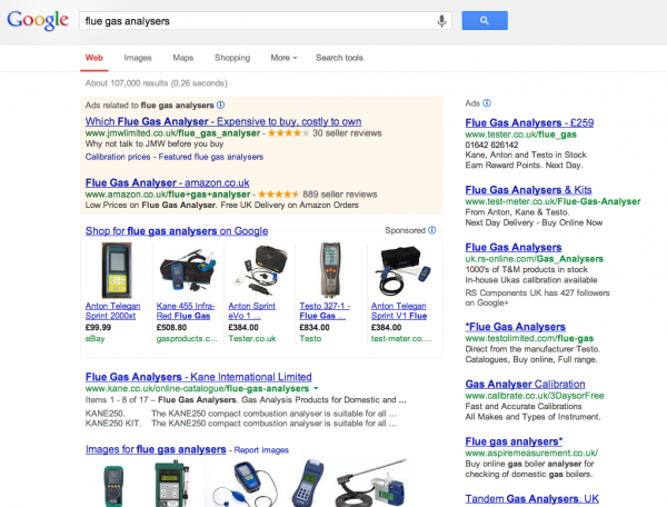 Search for 'flue gas analysers' in Google