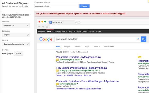 Google Ad Preview Tool screenshot
