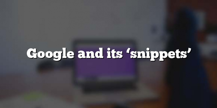 Google and its 'snippets'