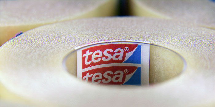 tesa UK's 6,000 different types of tape includes double sided tapes, masking tapes, protection tapes, safety tapes, cloth tapes, duct tapes and packaging tapes