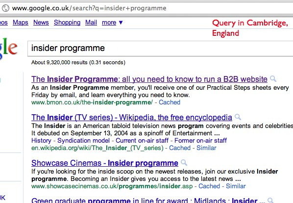 Insider Programme query from England