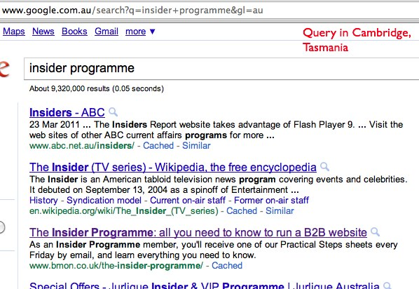 Insider Programme query from Australia