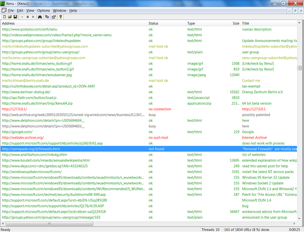 Screenshot from Xenu Link Sleuth