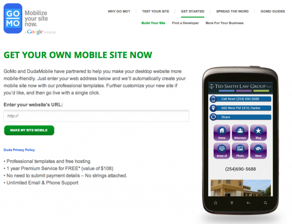 Click here to visit the GoMo/Dudamobile website