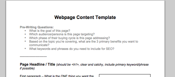 Webpage Content Template