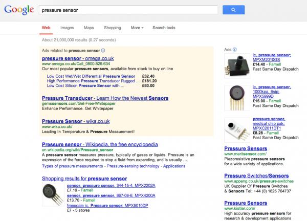 Google Search Results screen