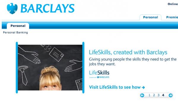 Carousel on Barclays website
