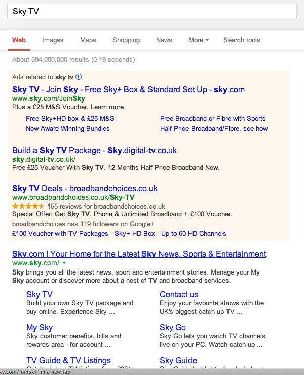 Sky TV search 2