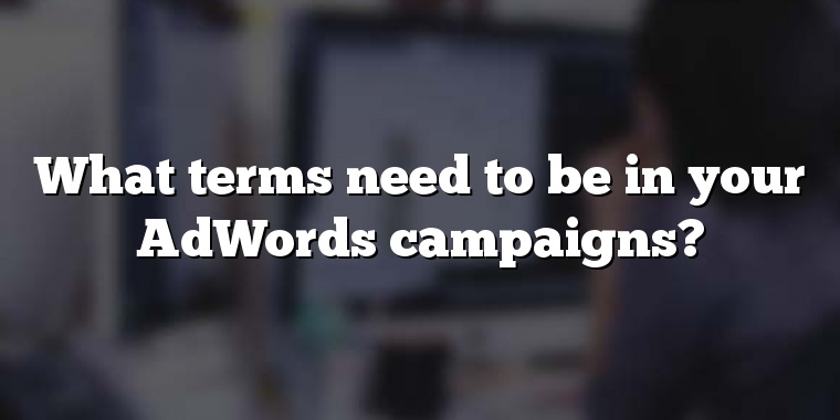 What terms need to be in your AdWords campaigns?