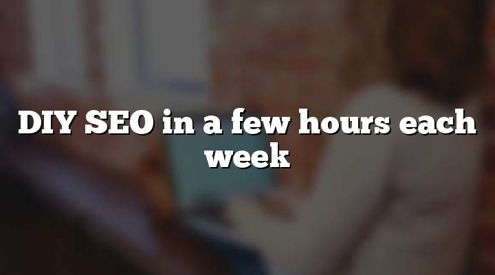 DIY SEO in a few hours each week