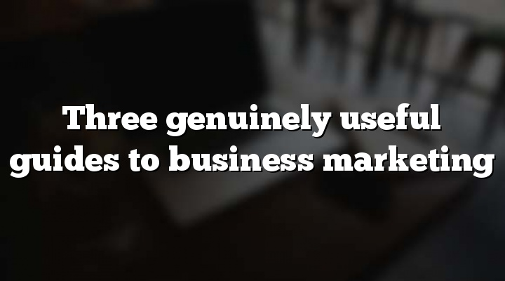 Three genuinely useful guides to business marketing