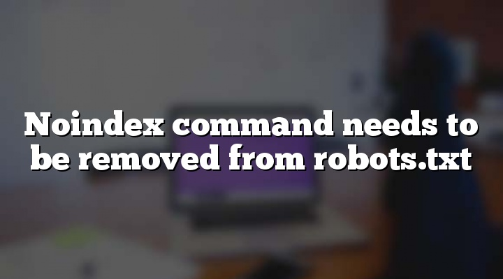 Noindex command needs to be removed from robots.txt