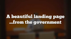 A beautiful landing page …from the government