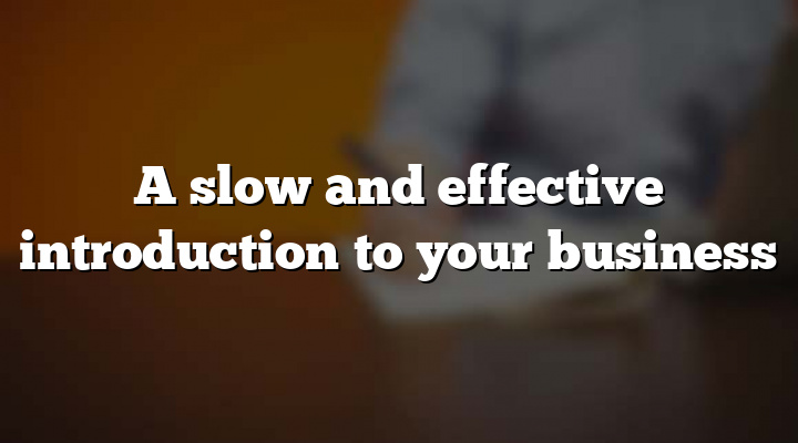 A slow and effective introduction to your business