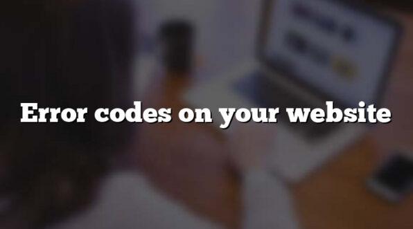 Error codes on your website